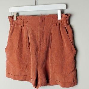 Zara Woman Hugh waist paper bag shorts in rust